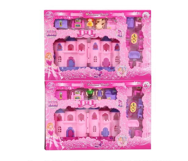 Mini Castle with 12 colorful light music + dolls+ furniture (two colors) (2 mixed) (with two AG13 batteries)