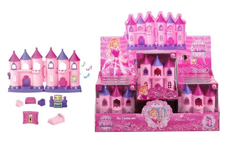 Mini Castle with 12 colorful light music + furniture (two colors) (2 mixed) 12PCS / Aberdeen box display box (with two AG13 batteries)