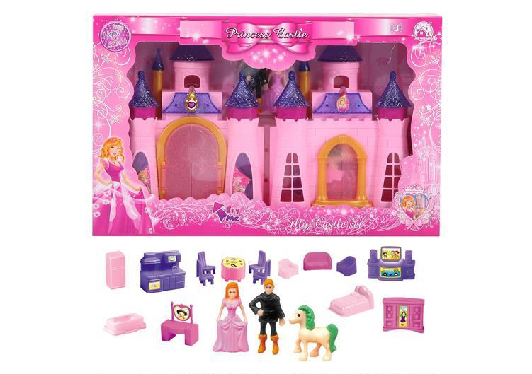 Colorful lights castle with 12 pieces of music + furniture + people (two colors) (with three AG13 batteries)