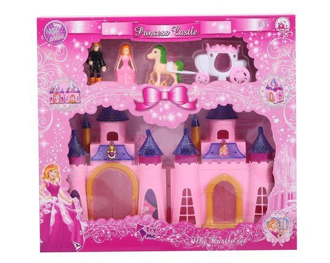 Colorful lights castle with 12 music + dolls+ furniture (two color) (with three AG13 batteries)