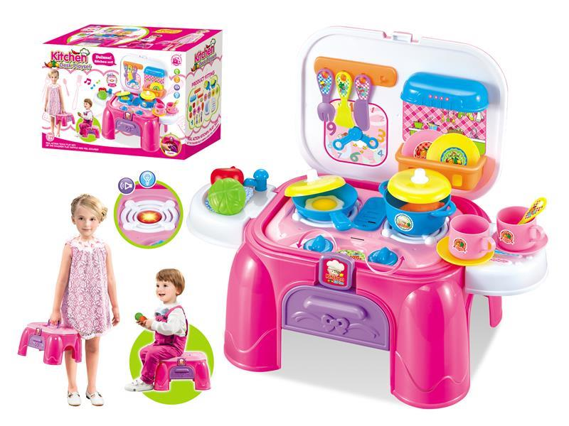 Girl kitchen storage desk with sound light Kitchen Desk play set