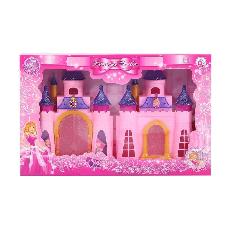Best Selling Funny Mini Castle with 12 colorful light music and dolls and furniture