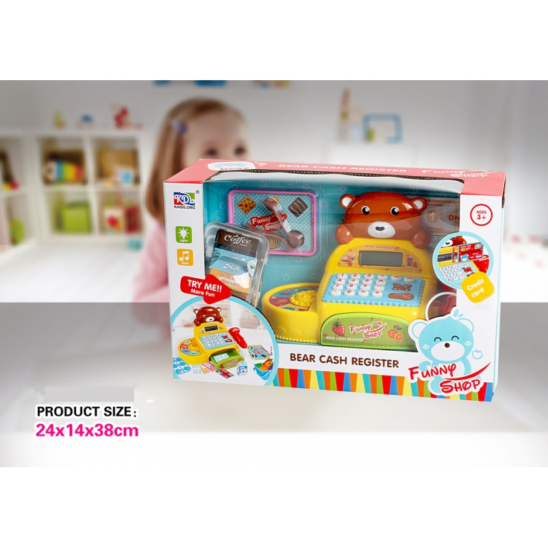 multifunction children cash register toys with conveyor and microphone