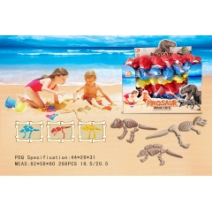 Plastic Dinosaur Skeleton Mold Sand Beach Toy With Shovels